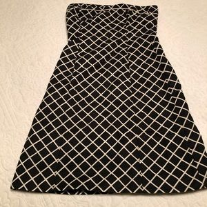 JCrew black and white strapless dress size 6